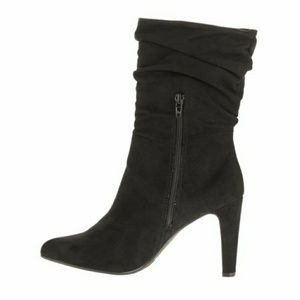 New Big Buddha Black Suede Heeled Slouch Boots